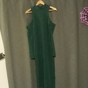 NBW XOXO green and black knee length dress.